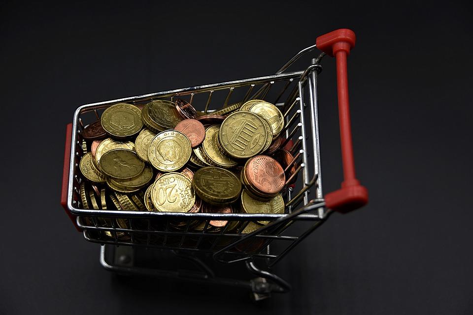 košík mincí